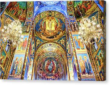 Interior Of The Church Of The Savior On Spilled Blood Canvas Print