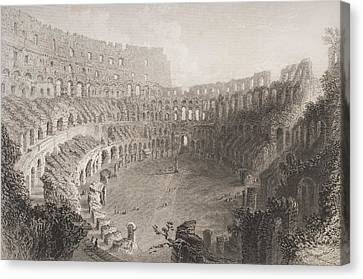 Interior Of The Colosseum Rome Italy Canvas Print by Vintage Design Pics