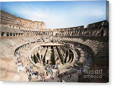 Interior Of The Colosseum With Tourists - Rome - Italy Canvas Print