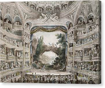 Interior Of The Comedie Francaise Theatre In 1791 Canvas Print