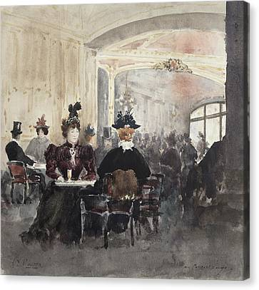 Interior Of The Concert Rouge Canvas Print by Henri Laurent Mouren