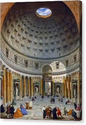 Skylight Canvas Print - Interior Of The Pantheon by Giovanni Paolo Panini