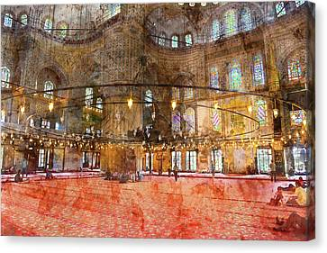 Medieval Temple Canvas Print - Interior Of The Sultanahmet Mosque Blue Mosque In Istanbul, Turkey by Brandon Bourdages