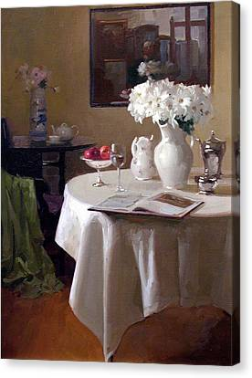 Interior Still Life Canvas Print - Interior With Daisies by Dennis Perrin