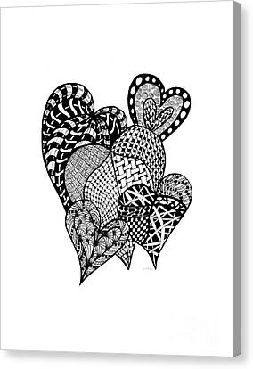 Interlocking Hearts Canvas Print by Nan Wright