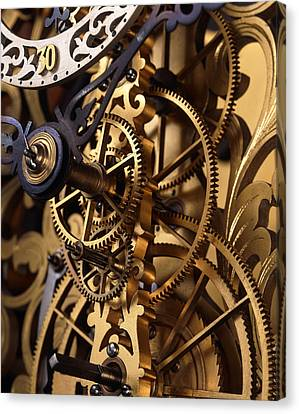 Internal Gears Within A Clock Canvas Print by David Parker