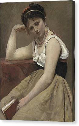 Interrupted Reading Canvas Print by Jean Baptiste Camille Corot