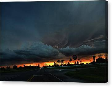Stop Sign Canvas Print - Intersection At Sunset by Toni Hopper