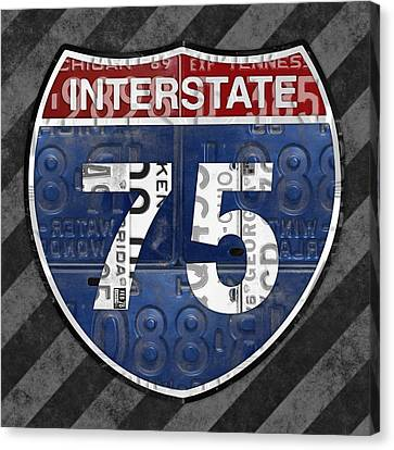 Interstate 75 Highway Sign Recycled Vintage License Plate Art On Striped Concrete Canvas Print