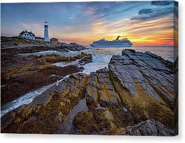 Rocky Maine Coast Canvas Print - Into Portland Harbor by Rick Berk