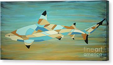 Into The Blue I Shark Painting Canvas Print