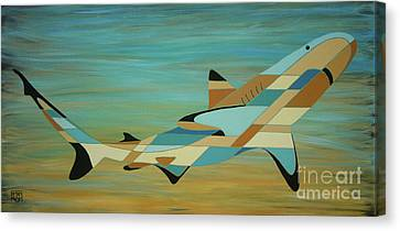 Into The Blue Shark Painting Canvas Print