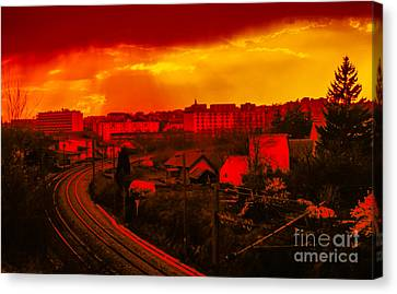 Into The City At Sunset Canvas Print by Gregory Schultz