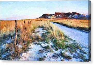 Canvas Print featuring the digital art Into The Kansas Badlands by Tyler Findley