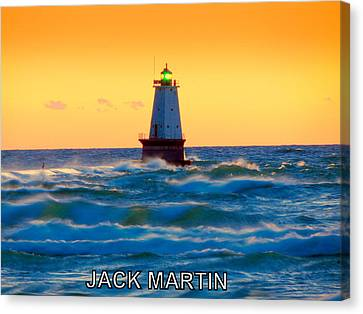 Into The Storm Ludington Michigan Waves And Sunset Skies Canvas Print by Jack Martin