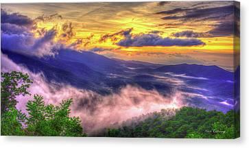 Into The Sun Blue Ridge Mountain Parkway Sunrise Art Canvas Print by Reid Callaway