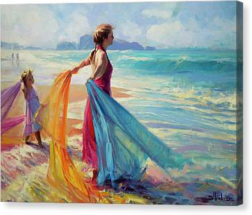 Woman Canvas Print - Into The Surf by Steve Henderson