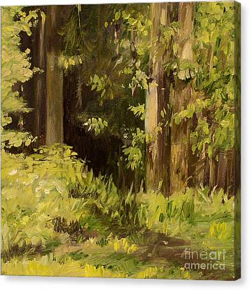Canvas Print featuring the painting Into The Woods by Laurie Rohner