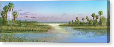 Intracoastal Glimmer Canvas Print by Mike Brown