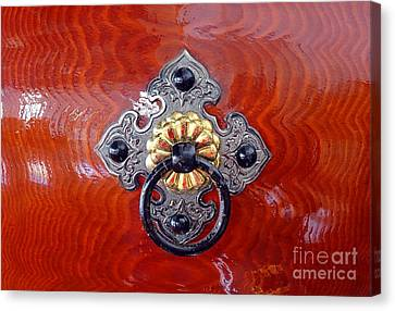 Intricate Bronze Fittings On A Drum Canvas Print by Yali Shi