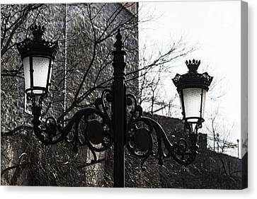 Intricate Ironwork Streetlights - Black And White Retro Chic With Crowns Canvas Print by Georgia Mizuleva