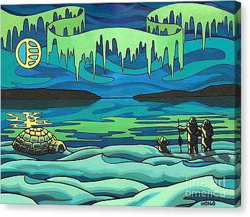 Inuit Love Arctic Landscape Painting Canvas Print by Kim Hunter