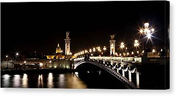 Canvas Print featuring the photograph Invalides At Night 1 by Andrew Fare