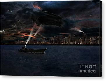 invasion of Miami painting Canvas Print