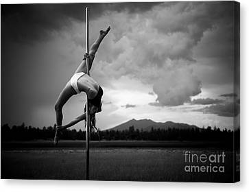 Inverted Splits Pole Dance Canvas Print by Scott Sawyer