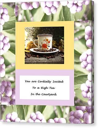 Tea Party Canvas Print - Invitation To Tea by Mary Ellen Frazee