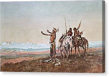 Invocation To The Sun Canvas Print by Charles Marion Russell