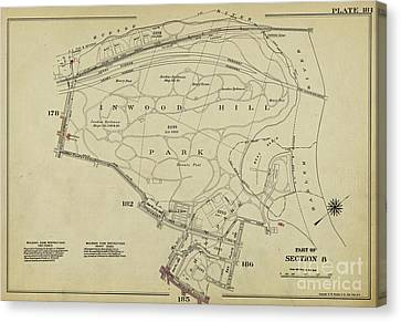 Canvas Print featuring the photograph Inwood Hill Park 1950's Map by Cole Thompson