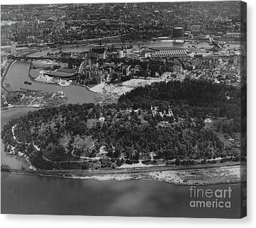 Canvas Print featuring the photograph Inwood Hill Park Aerial, 1935 by Cole Thompson