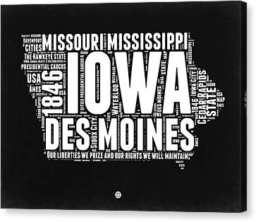Iowa Black And White Map Canvas Print