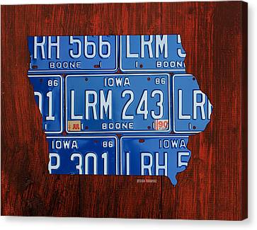Iowa State License Plate Map Art Canvas Print