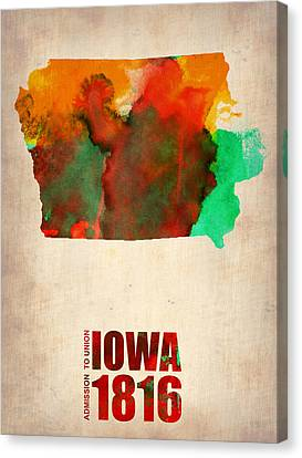 World Map Canvas Print - Iowa Watercolor Map by Naxart Studio