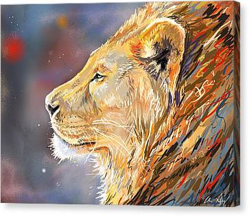 Ipad Painting - Lion Profile Canvas Print by Aaron Spong