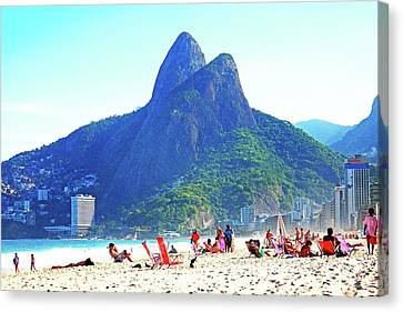 Dois Irmaos Canvas Print - Ipanema Beach - Brazil by Flavia Lundgren