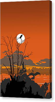 iPhone - Galaxy Case - Tropical Birds Orange Sunset Abstract Canvas Print