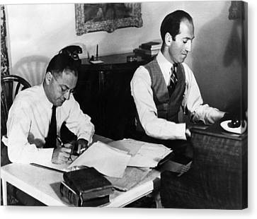 Ira And George Gershwin At Work Canvas Print by Everett