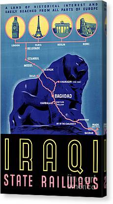 Iraq Vintage Travel Poster Restored Canvas Print by Carsten Reisinger