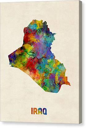 Iraq Canvas Print - Iraq Watercolor Map by Michael Tompsett