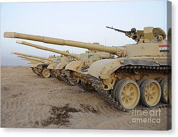 Iraqi T-72 Tanks From Iraqi Army Canvas Print by Stocktrek Images