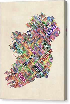 Ireland Eire City Text Map Derry Version Canvas Print by Michael Tompsett