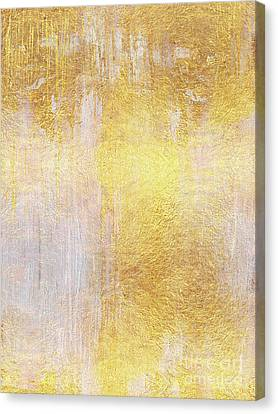Non-objective Art Canvas Print - Iridescent Abstract Non Objective Golden Painting by Tina Lavoie