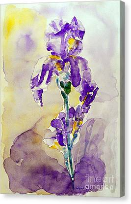 Canvas Print featuring the painting Iris 2 by Jasna Dragun