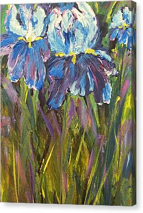 Canvas Print featuring the painting Iris Floral Garden by Claire Bull