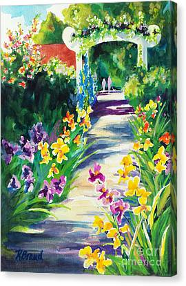Canvas Print featuring the painting Iris Garden Walkway   by Kathy Braud