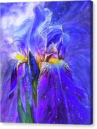 Canvas Print featuring the mixed media Iris - Goddess Of Starlight by Carol Cavalaris