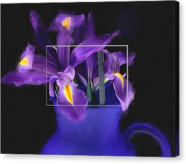 Iris In Blue Picture Canvas Print by Daniel D Miller
